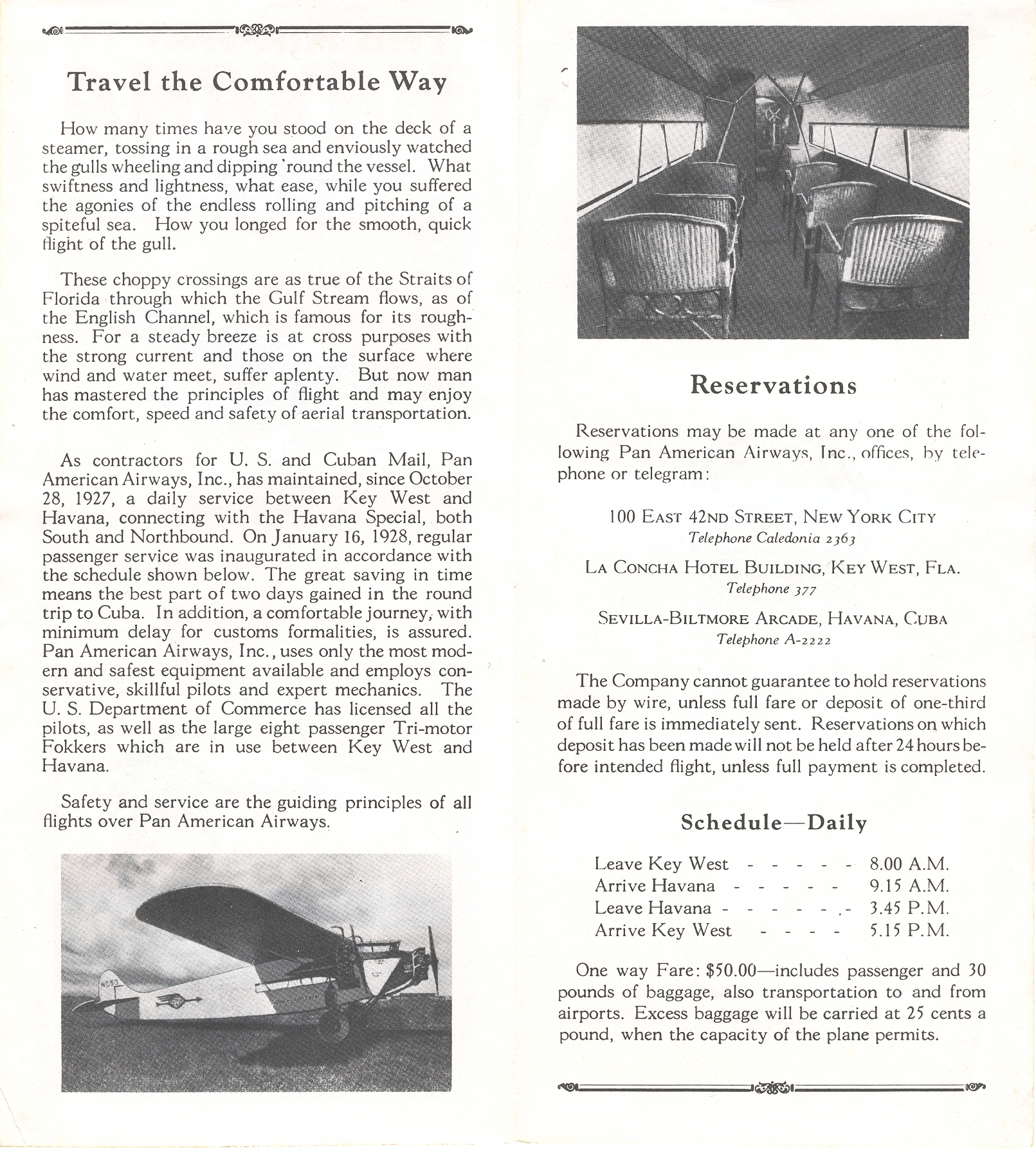 1928 Information on Pan Am from what is believed to be the first published timetable.