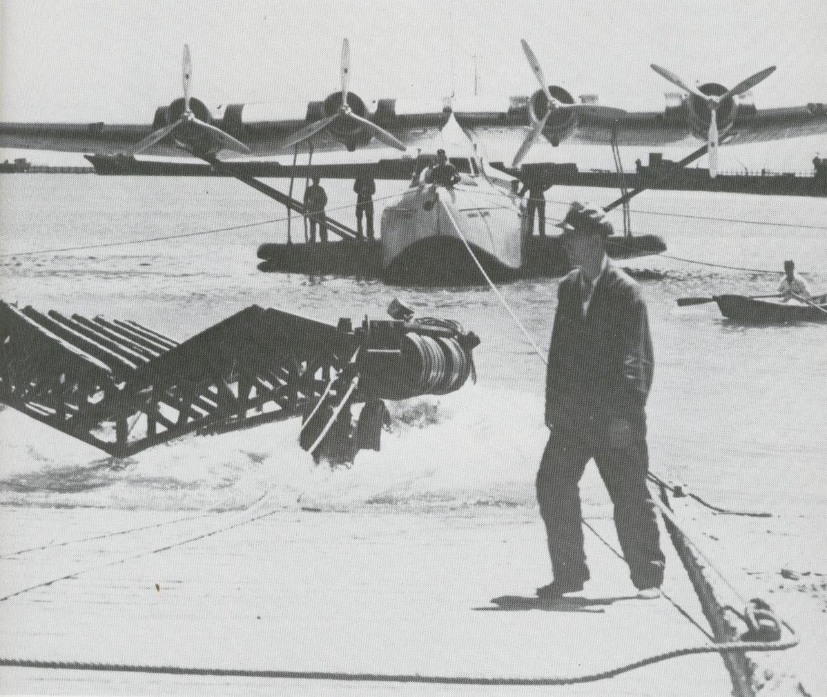 1930s beaching a Martin M130 flying boat