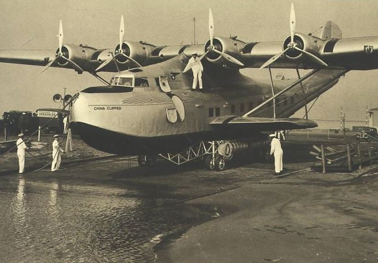 1930s China Clipper being wheeled into water location unknown