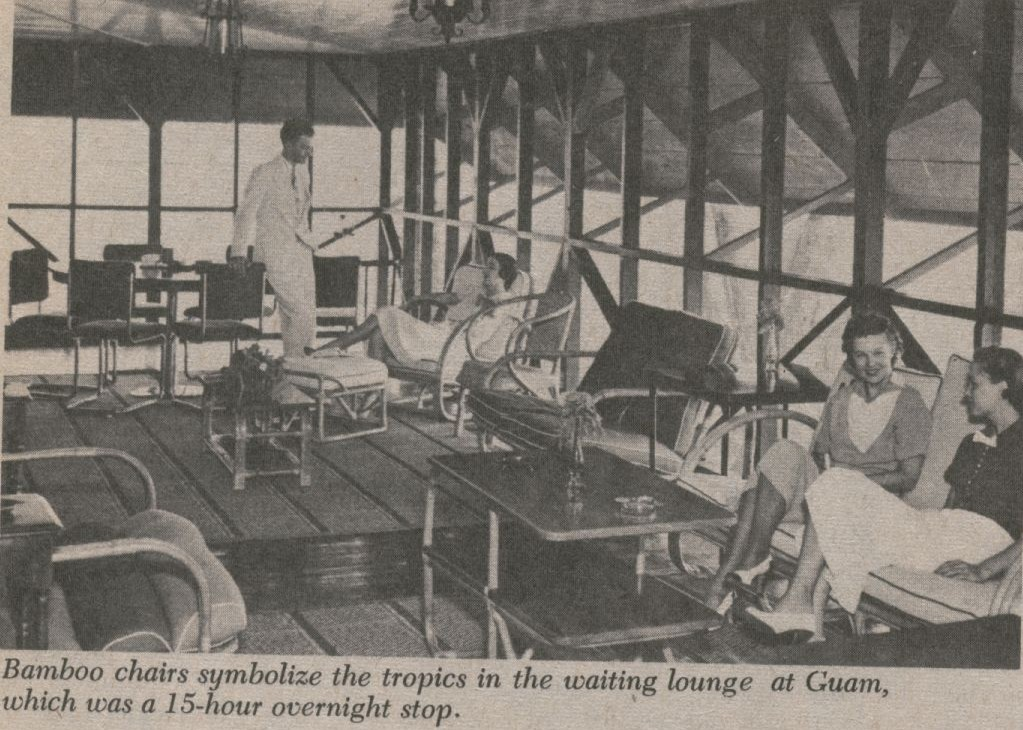 1930s A trans Pacific passage on Pan Am included hotel accomodations at each stop.  Seen here is a lounge at Pan Am's Guam hotel