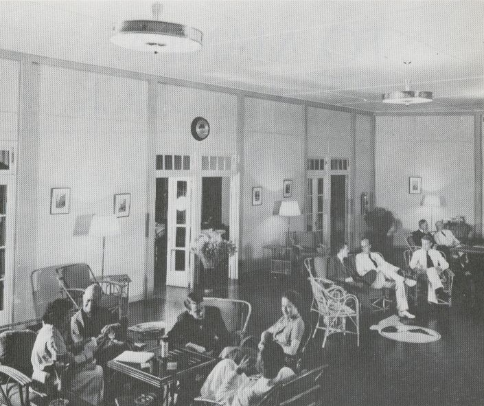 1930s A trans Pacific passage on Pan Am included hotel accomodations at all intermediate stops.  The hotels were constructed by Pan Am & staffed by Pan Am employees.  Seen here is the lobby of the Pan Am hotel on Midway Island in the second half of the 1930s.