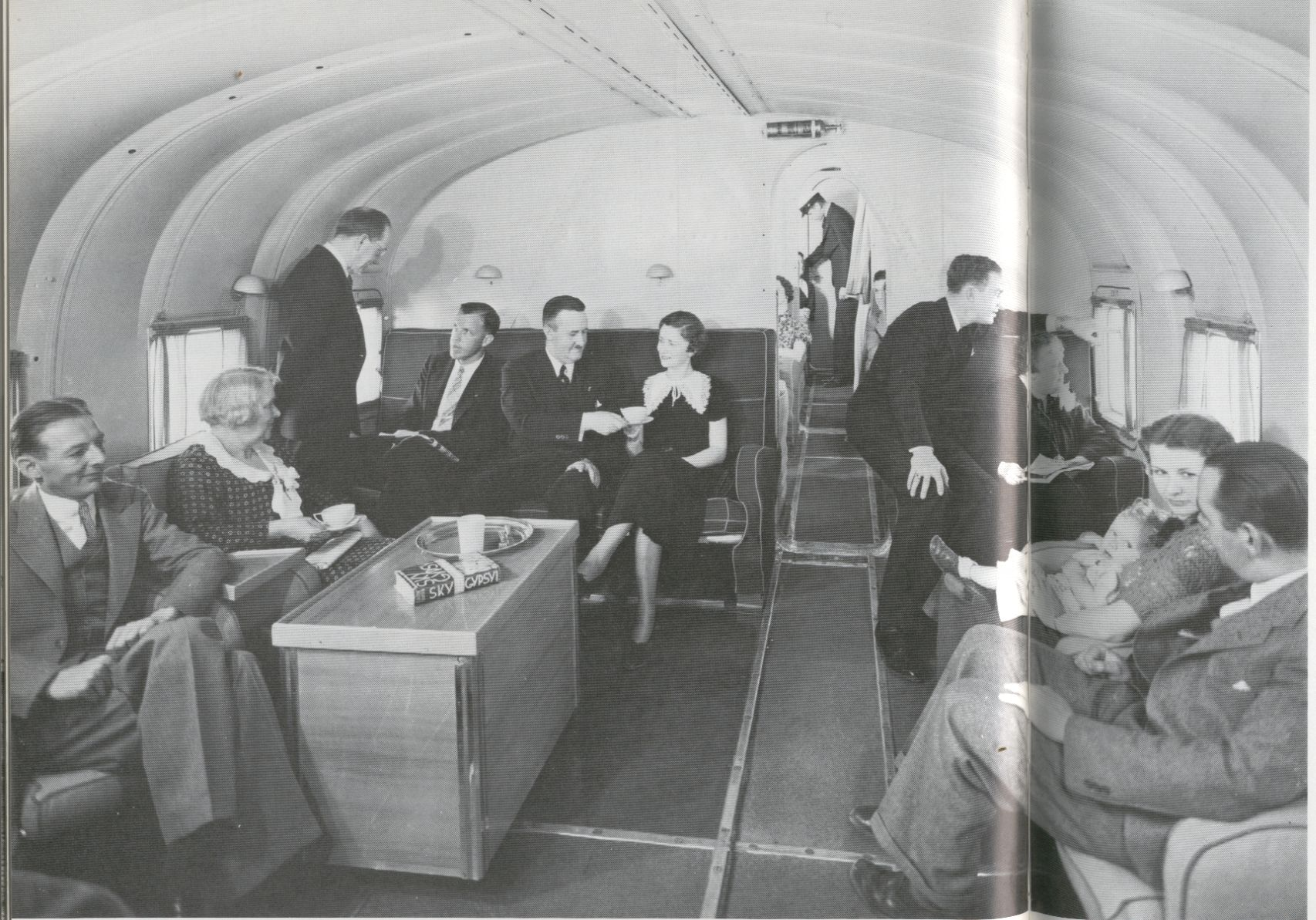 1930s Tea time in the main cabin of a Martin M130 flying boat