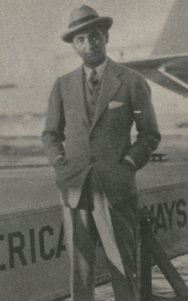 1933 Song writer  Irving Berlin embarking for Nassau aboard a Pan Am  flying boat