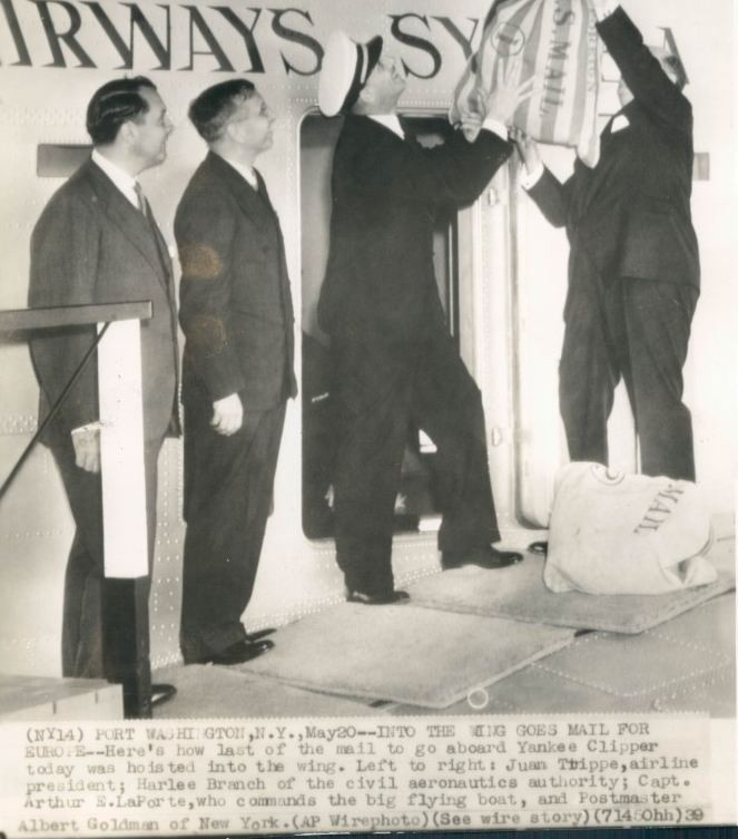 1939 May 20 Pan Am Founder  Juan Trippe Witnesses mail loaded aboard B314 for flight to Europe Capt LaPorte with mail sack