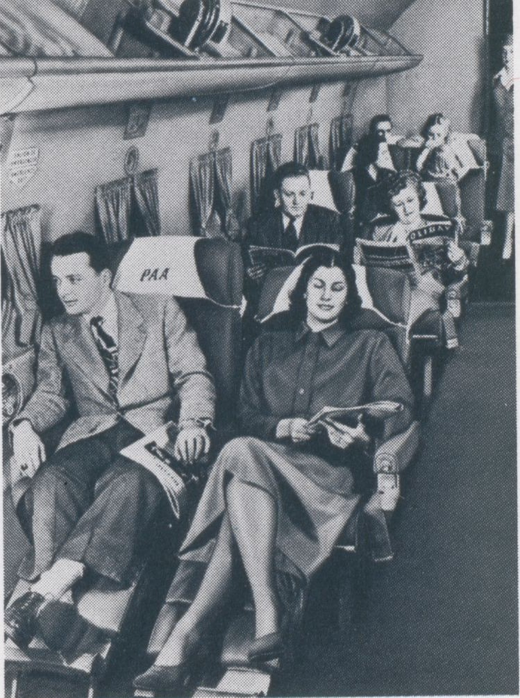 1940s After WW II Pan Am introduced land planes on long haul routes.  Berths we no longer practical on DC4 or Constellations so Sleeperette seats were offered with ample recline & footrests.