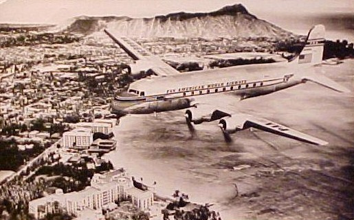 1940s A Pan Am DC 4 arriving at Honolulu.