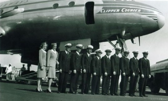1940s crew pose by a Lockheed 749 Constellation  Clipper Courier.