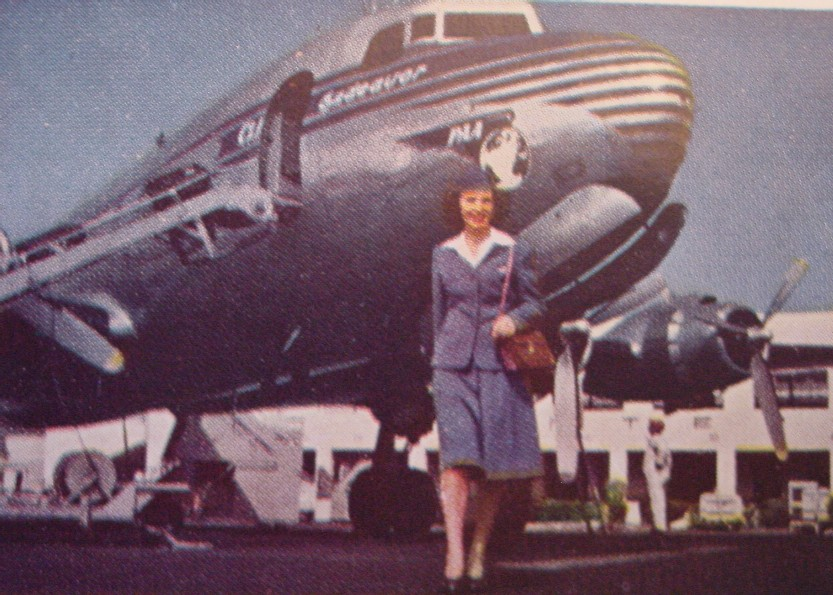 1940s A Stewardess walking away from a Pan Am DC4
