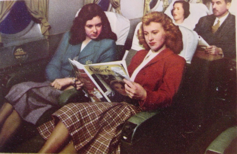 1940s Passengers relax on a Lockheed Constellation.
