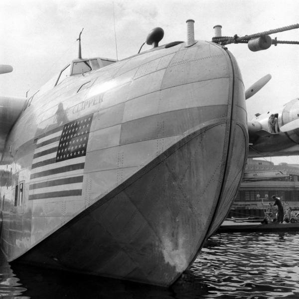 1941 Boeing B314 moored at Marine Air Terminal at New York, LaGuardia, Marine Air Terminal