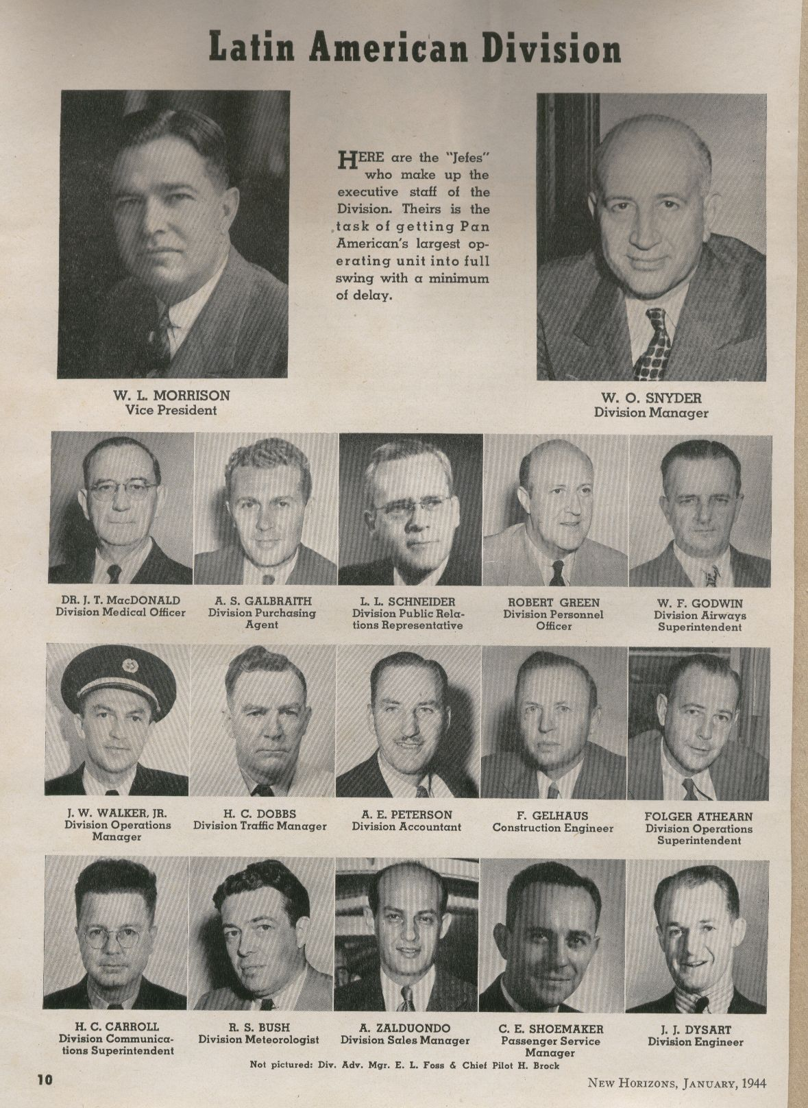 1944 head shots of Pan Am's senior management for the Latin America division.