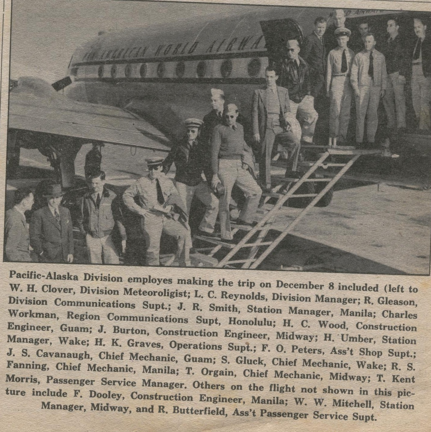 1945 Alaska employees board a DC4