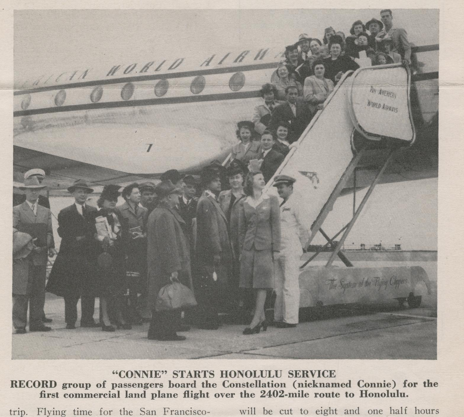 1946 Pan Am's first Constellation service to Honolulu.