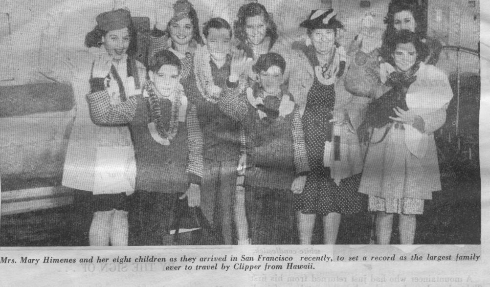 1946 Mother & 8 children arrive San Francisco via a Boeing 314 flying boat.