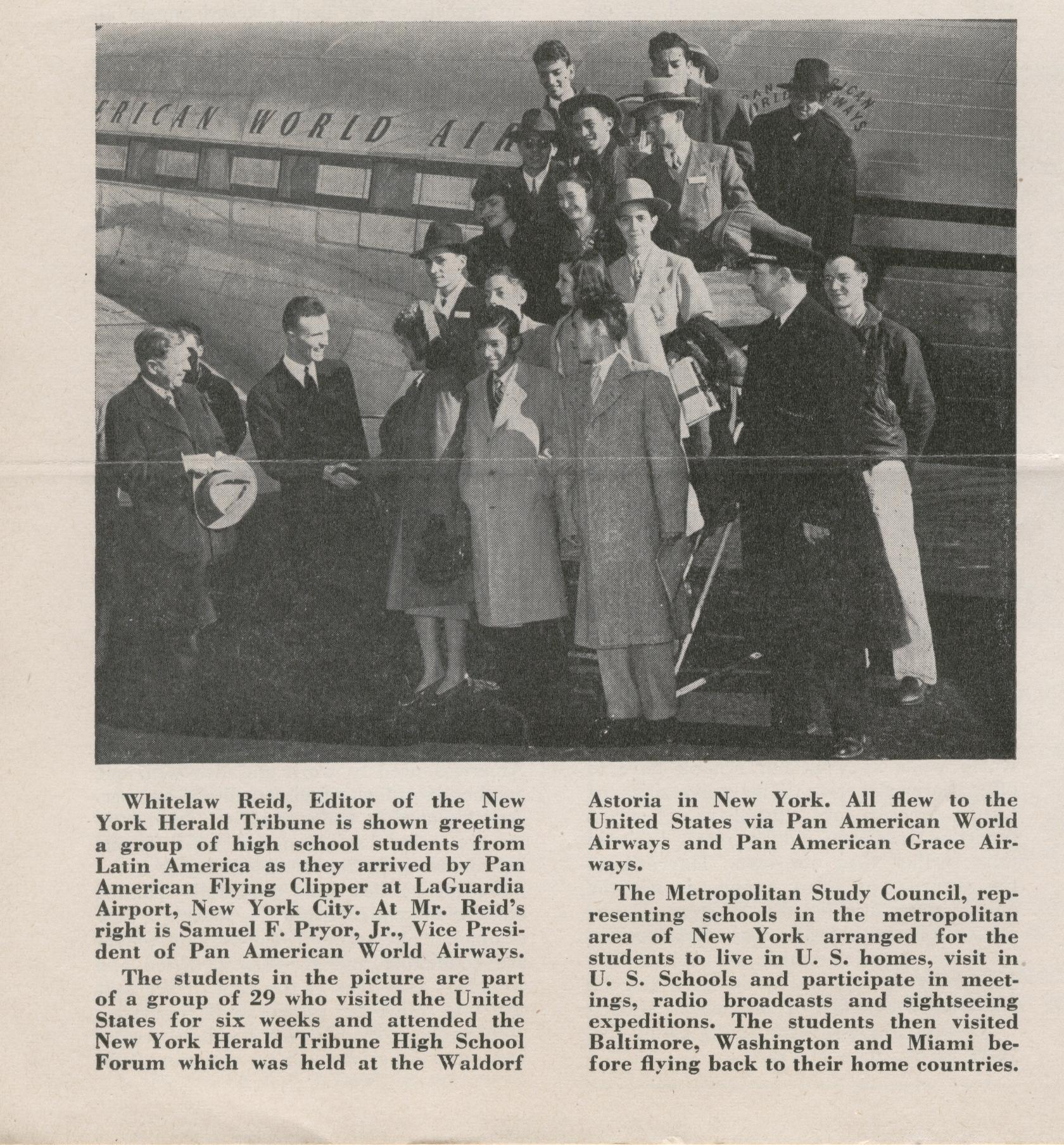 1947 Pan Am Vice President Sam Pryor greeting Latin American exchange students at New York LaGuardia airport