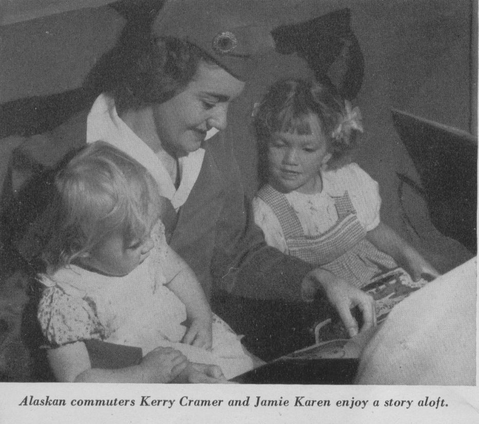 1947 Stewardess reading to children.