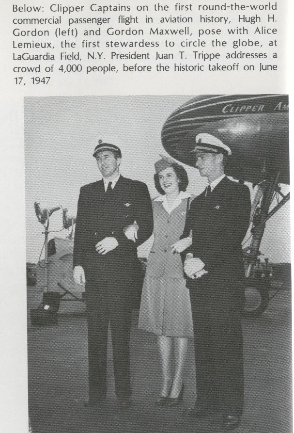 1947 Crew of Pan Am's first round the world flight pose for a picture.
