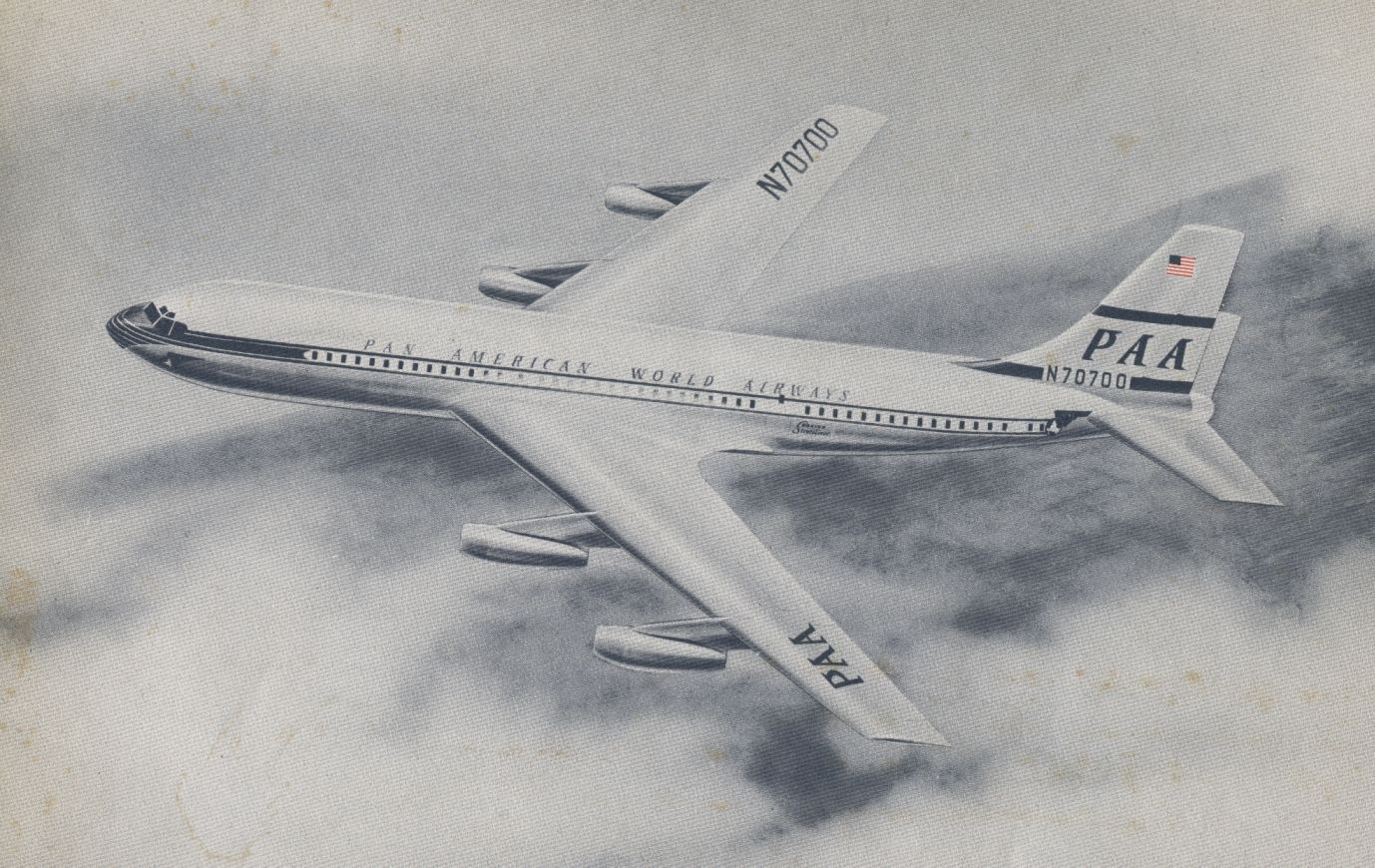 1950s Artist rendition of a Boeing 707 in the piston  livery.  The blue globe livery was adopted prior to the arrival of Pan Am's first jets.