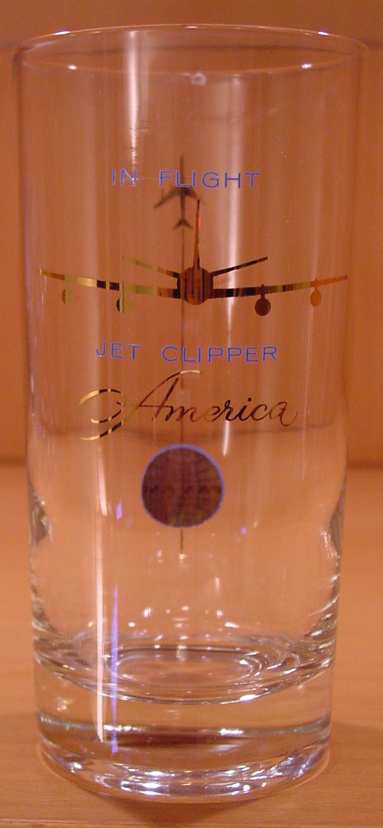 1959  Pan Am promoted the name of the first Boeing 707 as Clipper America.  This glass would be from one of the first revenue flights with that aircraft, tail number, N707PA