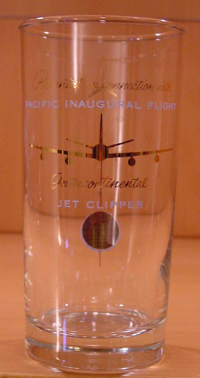 1959 Pan Am's first  Pacific jet service was to Hawaii. then onto Japan and the rest of the Asian network.  This glass was given to customers on some of the first jet flights across the Pacific.