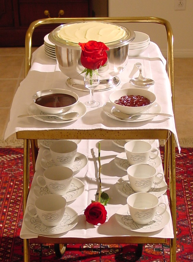 The dessert cart with 1950s Pan Am 'Script' china.