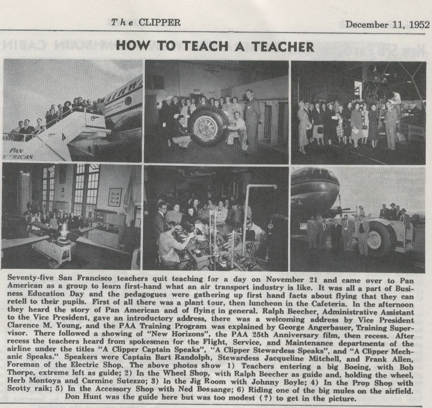 1952 December 11 Teachers visit the Pan Am San Francisco Maintenance Base.