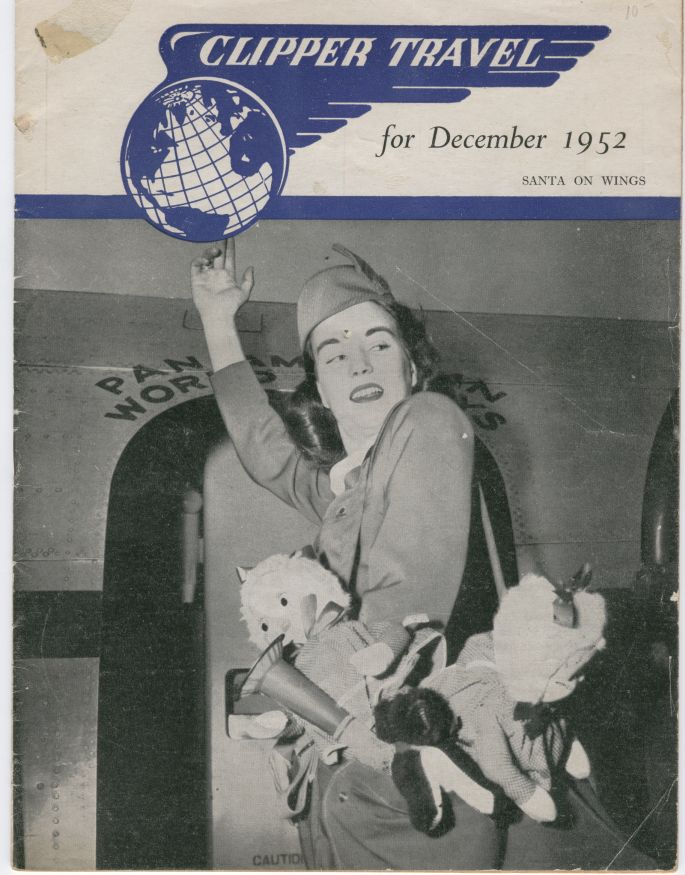 1952 December, Clipper Travel in-flight magazine with stewardess on cover.