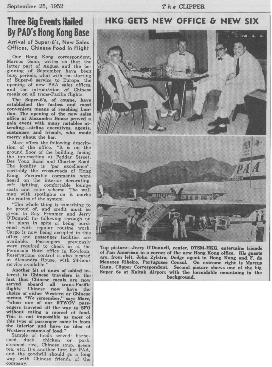 1952 September  25,  Airport Station updates from Hong Kong.