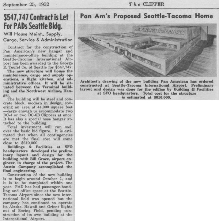 1952, September  25th An article about a proposed new airport Pan Am airport building at the Seattle, Washington Airport.