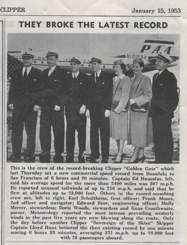1953, January 15, The crew of a speed record breaking flight from Honolulu to San Francisco pose for a photo with details of the flight printed below.