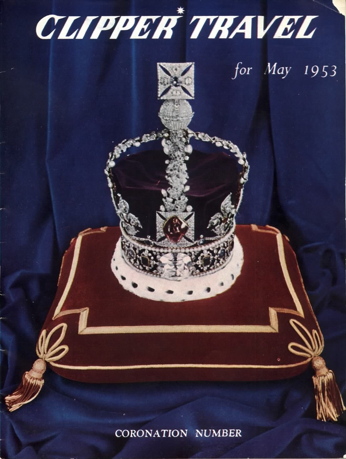 1953 May, Clipper Travel in-flight magazine with cover story on the Crown Jewels of England.