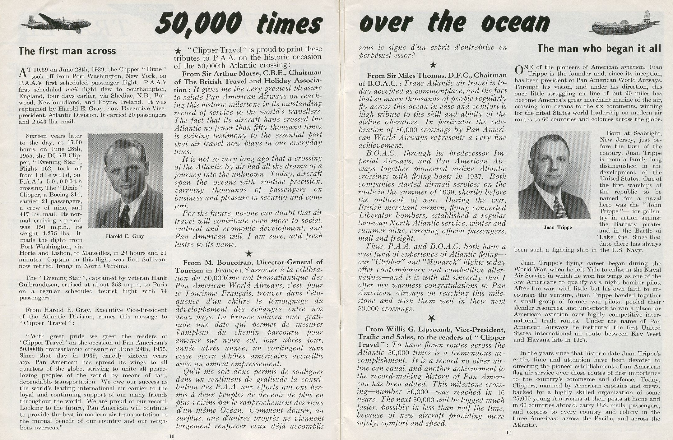 1955, July, An article on Pan Am's 50,000th Atlantic Crossing and comments by various leaders in aviation.  Mentioned in the article are Harold Gray, Pan Am's first Trans-Atlantic Captain and Juan Trippe the founder of Pan Am.