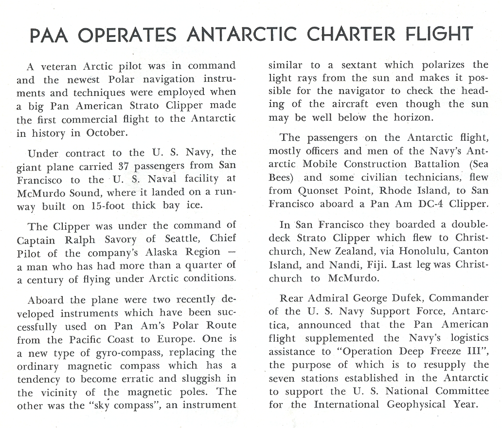 1957, December, Information on Pan Am's first charter flight to  Antarctic in support of US Government  research.
