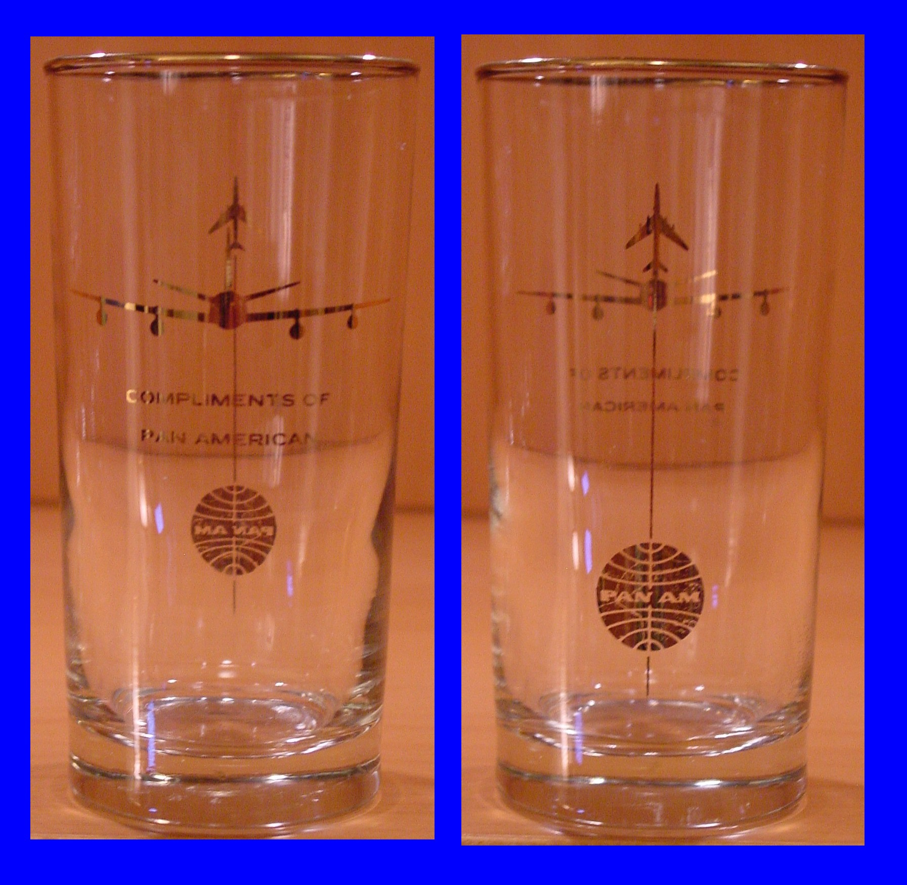 1958 October, Boeing 707 Jet Inaugural high ball glass