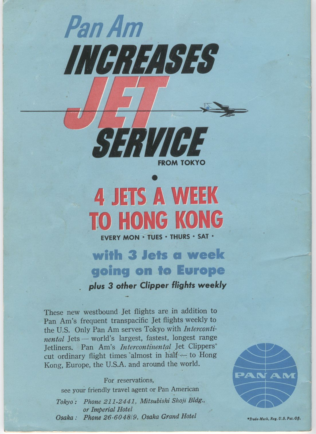 1960, February, A Pan Am ad for jet service to Asia.