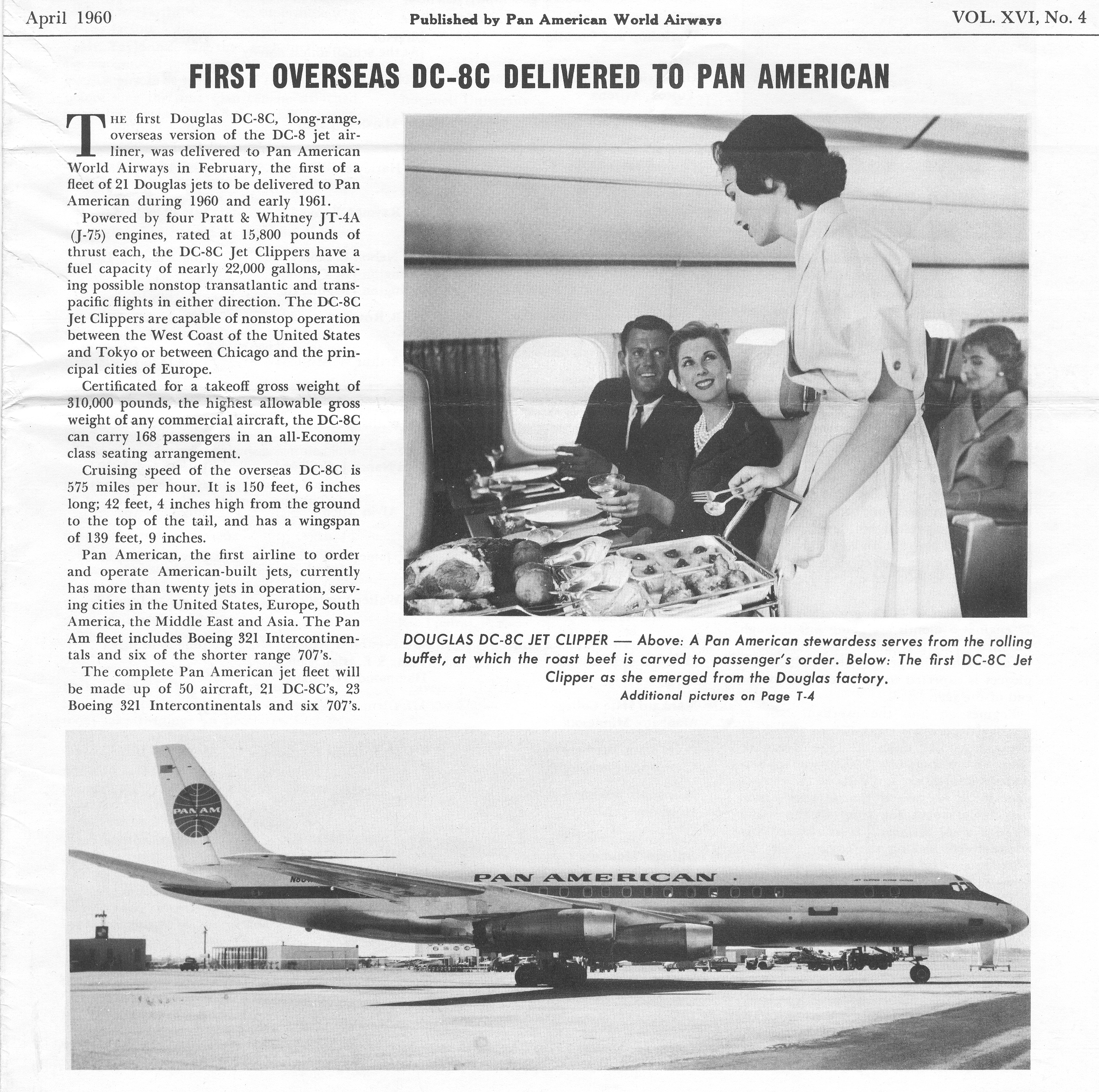 1960 First DC 8 delivered to Pan Am.
