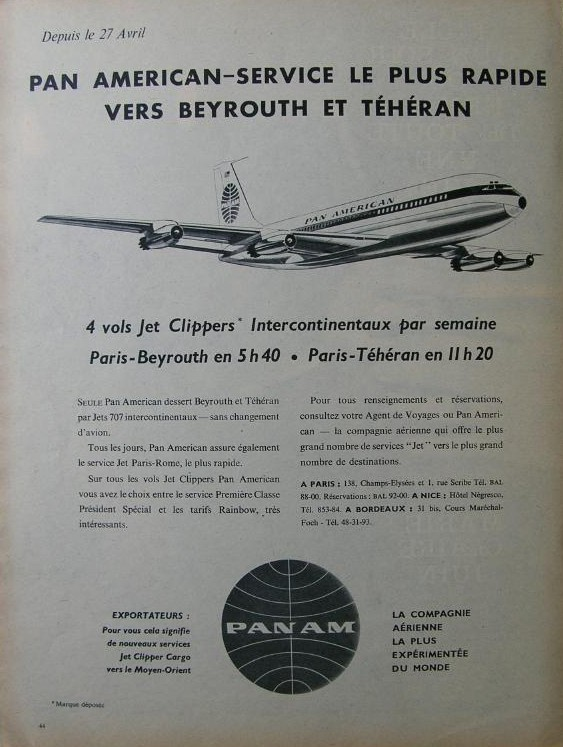 1960, A Pan Am  French language ad for service from Paris to Beirut & Tehran.