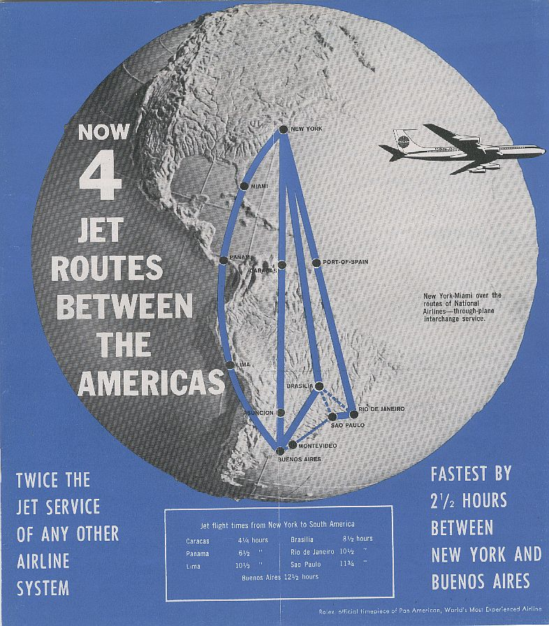 1960 October, A Pan American timetable ad with 4 jet routes to Latin America.