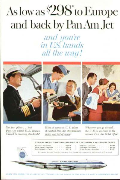 1960, A Pan Am ad featuring a pilot, flight attendant & ticket agent.