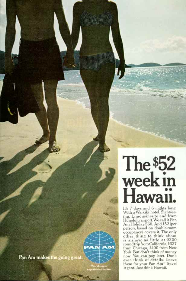 1960s, A Pan Am ad promoting discount tours to Hawaii.