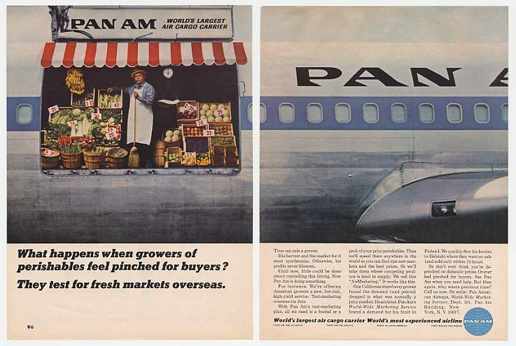 1960s Cargo jet move fresh produce quickly.