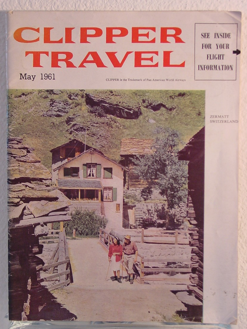 1961 May , Clipper Travel in-flight magazine with a cover story on Switzerland.