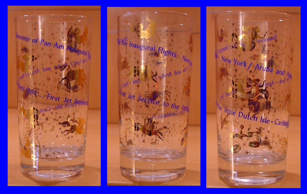 1964 April, Different views of a glass given to customers on Pan Am's  New York to Antigua  inaugural service.