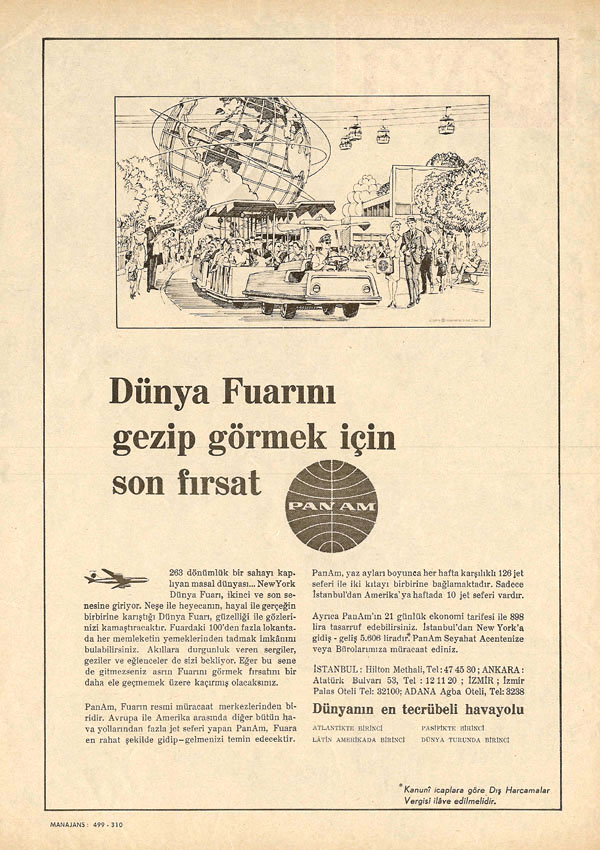 1965 A Turkish language ad for the New York World's Fair.