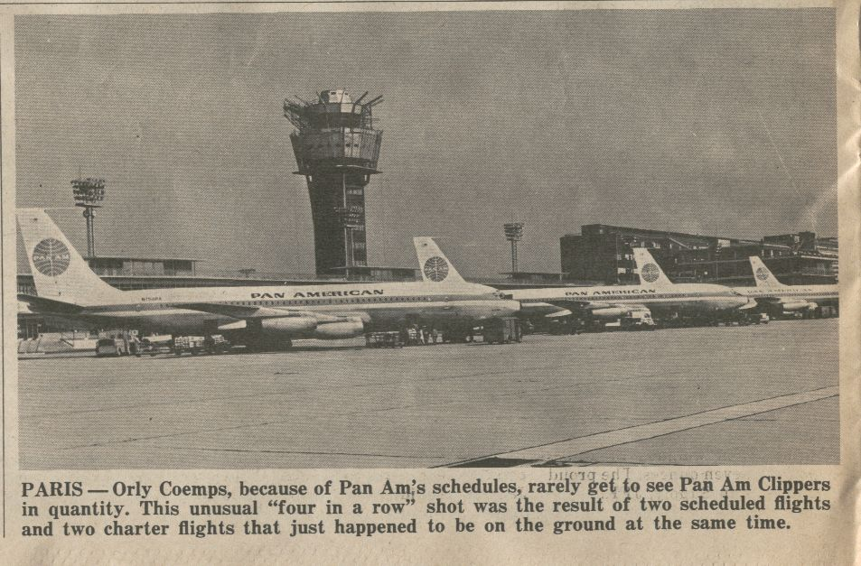 1966 February Ffour Pan Am 707s parked on the ramp at Paris Orly Airport.