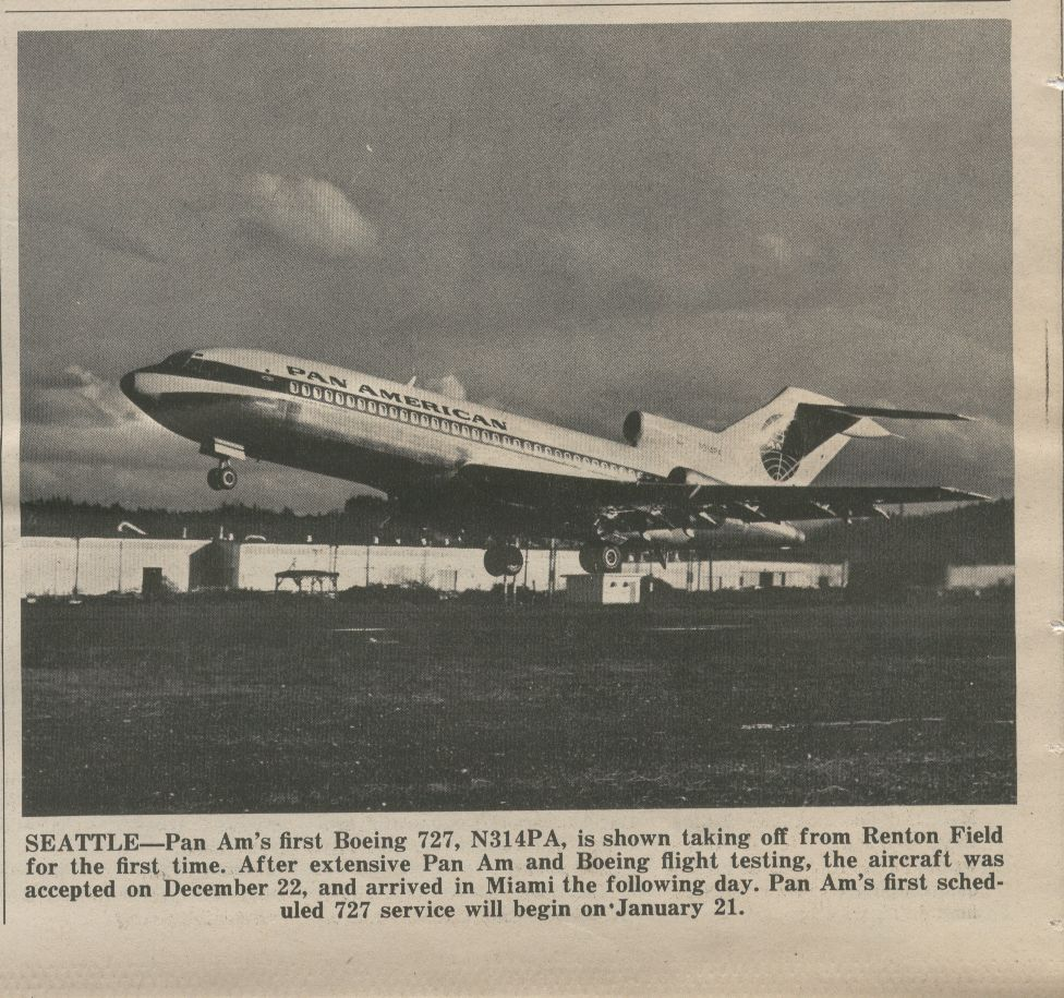 1966, January 21, First Boeing 727 accepted from Boeing