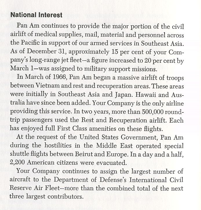 1967 Annual Report company statement on Vietnam Airlift