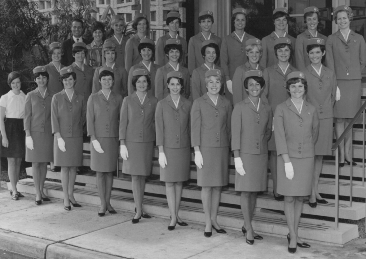 1968 Spring, Susanne Malm graduating class for flight attendant training in Miami.