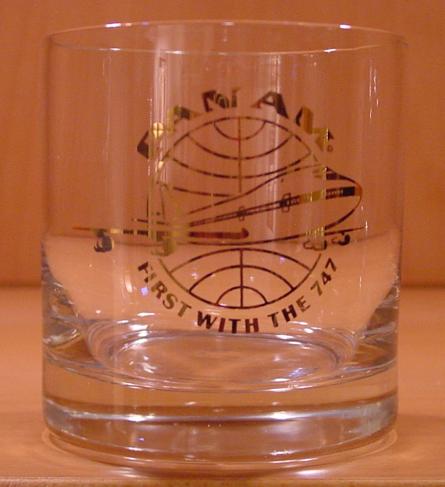 1970 There is not date on this glass which means that it was either given out on multiple flights or might even have been given out at various ground events to introduce the 747.