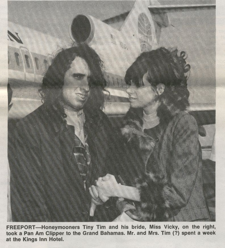 1970, January, Performer Tiny Tim and his wife Miss Vicky depart Freeport in the Bahamas via Pan Am.